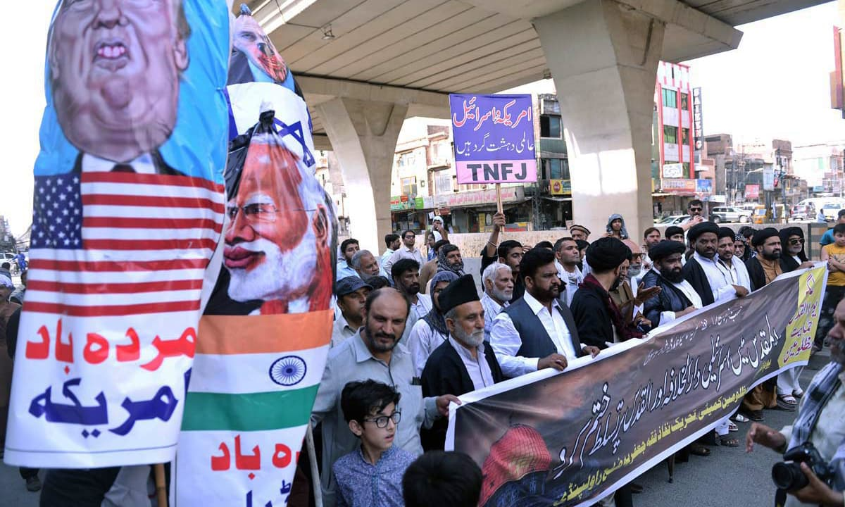 People hold a rally in Rawalpindi to mark Youm Al-Quds to express solidarity with Palestinians. —APP