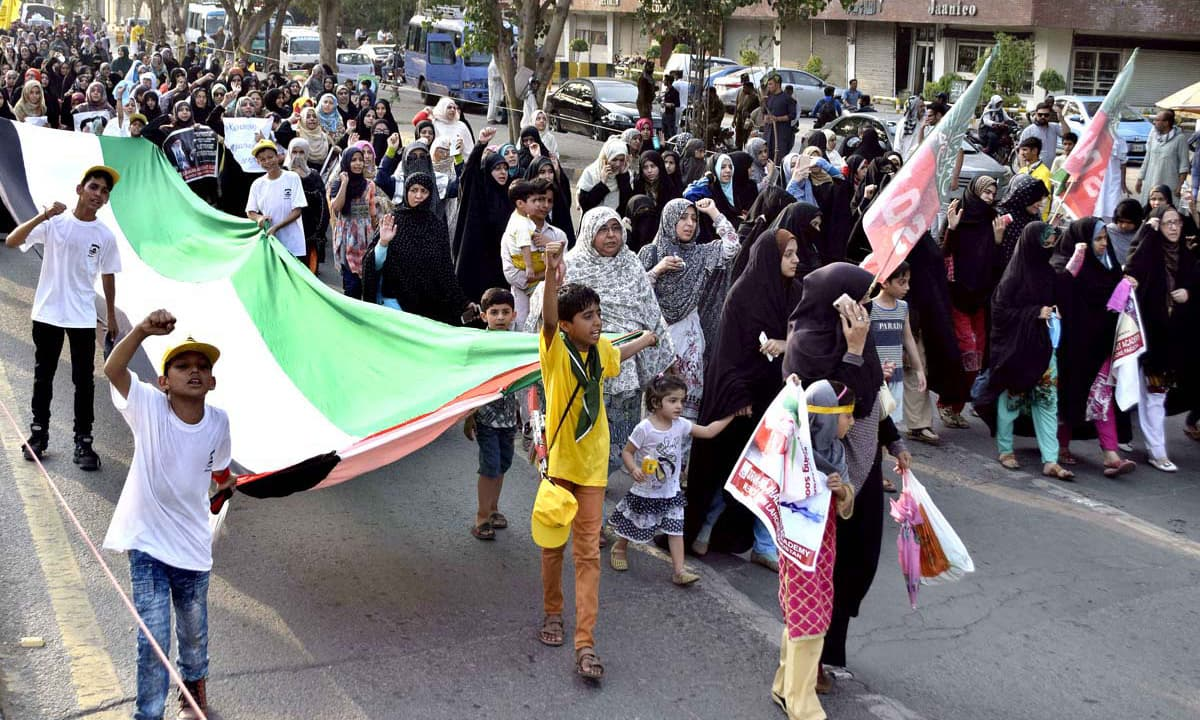Protesters pledged to continue raising voice for rights of oppressed Palestinians. —APP
