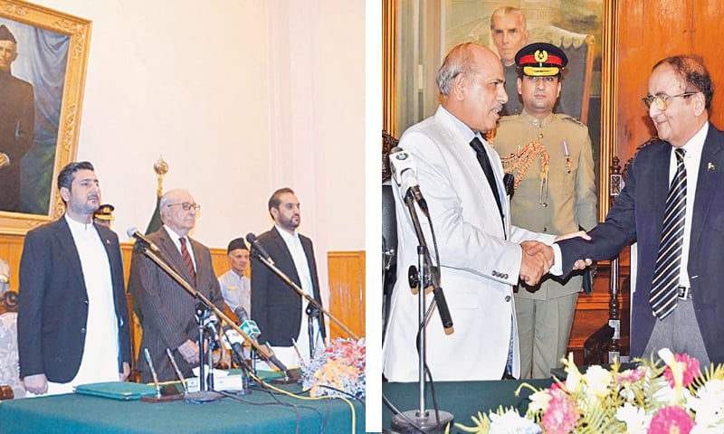 Balochistan Governor Muhammad Khan Achakzai and caretaker Chief Minister Alauddin Marri (left) stand in respect of the national anthem during the oath-taking ceremony. Punjab Governor Malik Muhammad Rafique Rajwana (right) greets the caretaker CM Professor Dr Hassan Askari after the oath-taking ceremony at Governor House on Friday.—APP