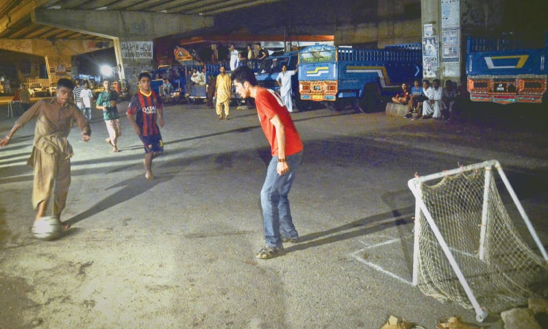 Football under the flyover