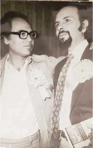 Distinguished critic Shamim Hanfi with Umar Memon