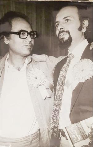 Distinguished critic Shamim Hanfi with Umar Memon