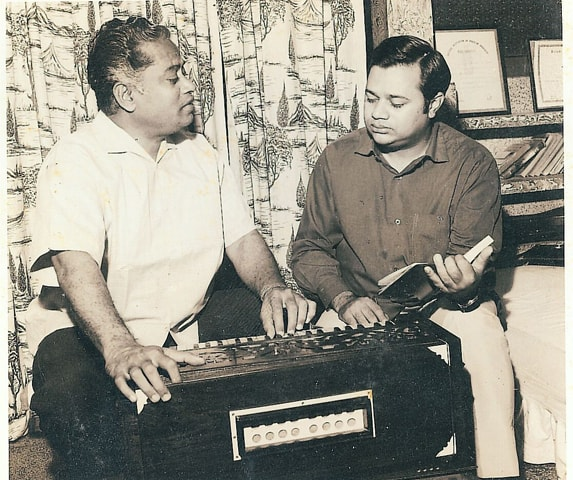 Masroor Anwar (right) wrote memorable lyrics for many composers including Nisar Bazmi with whom he had close personal and professional relationships | Photos by the writer