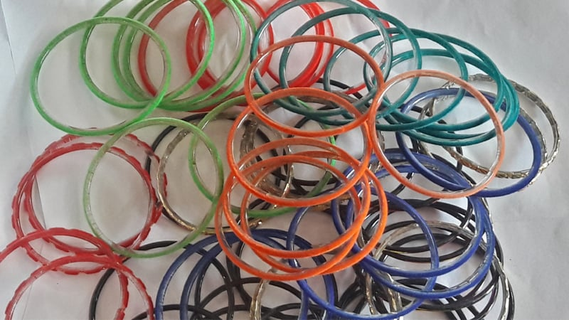 Make your own selection from scores of multicoloured bangles