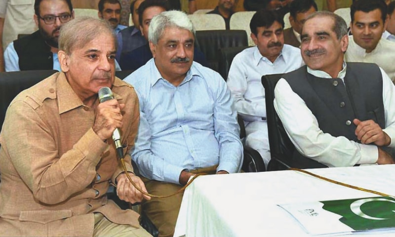 LAHORE: Former Punjab chief minister and Pakistan Muslim League-Nawaz president Shahbaz Sharif pictured during a meeting of the party's parliamentary board on Sunday.—APP