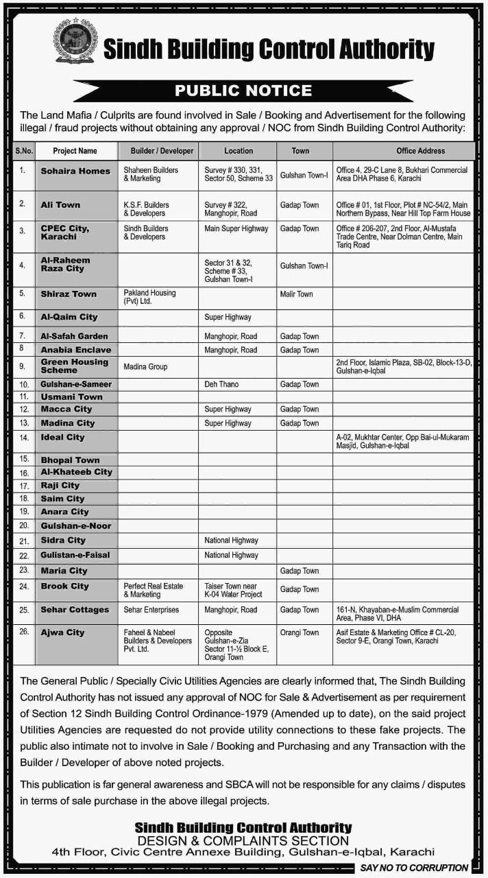 Notice placed in newspapers by SBCA warning the public not have any dealings in connection with the housing projects on the list. It contains no mention of Bahria Town Karachi.