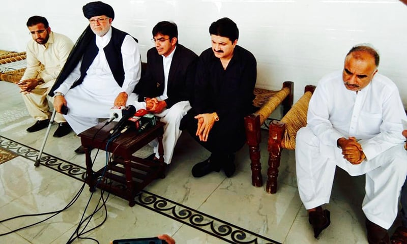Mohsin Dawar speaking to media after talks concluded. —Photo provided by author