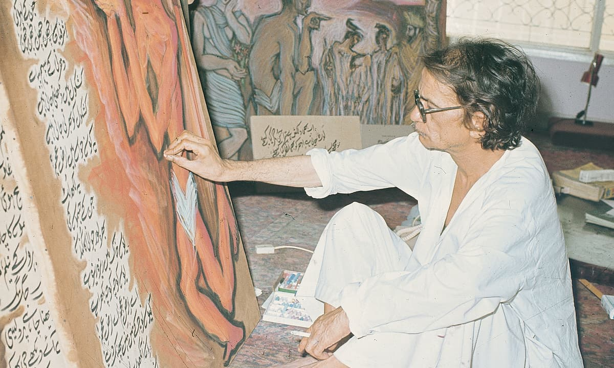 Sadequain working on a painting in his studio | White Star