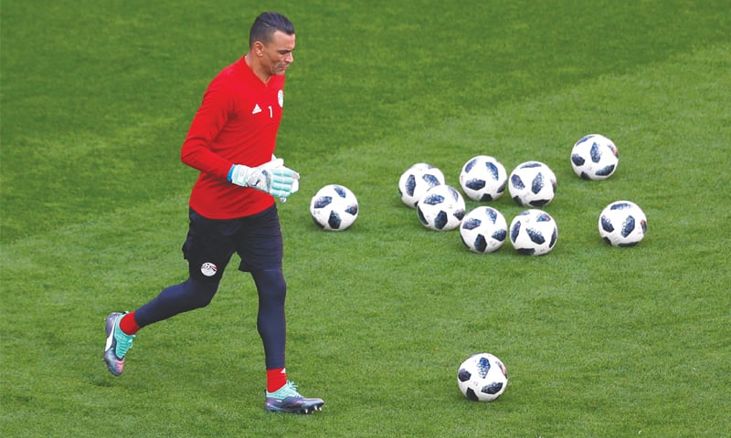EGYPT goalkeeper Essam El Hadary in action during a practice session.—Reuters