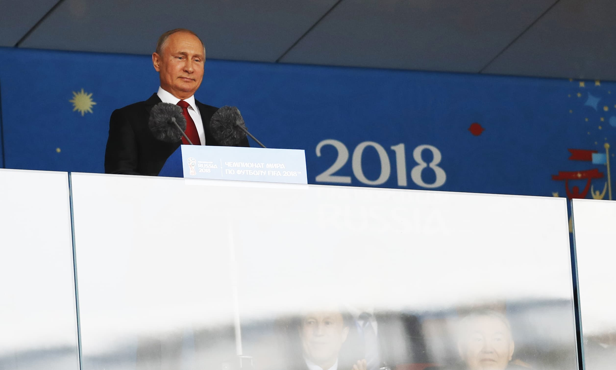 Russian President Vladimir Putin speaks during the Opening Ceremony for the World Cup 2018. — AP