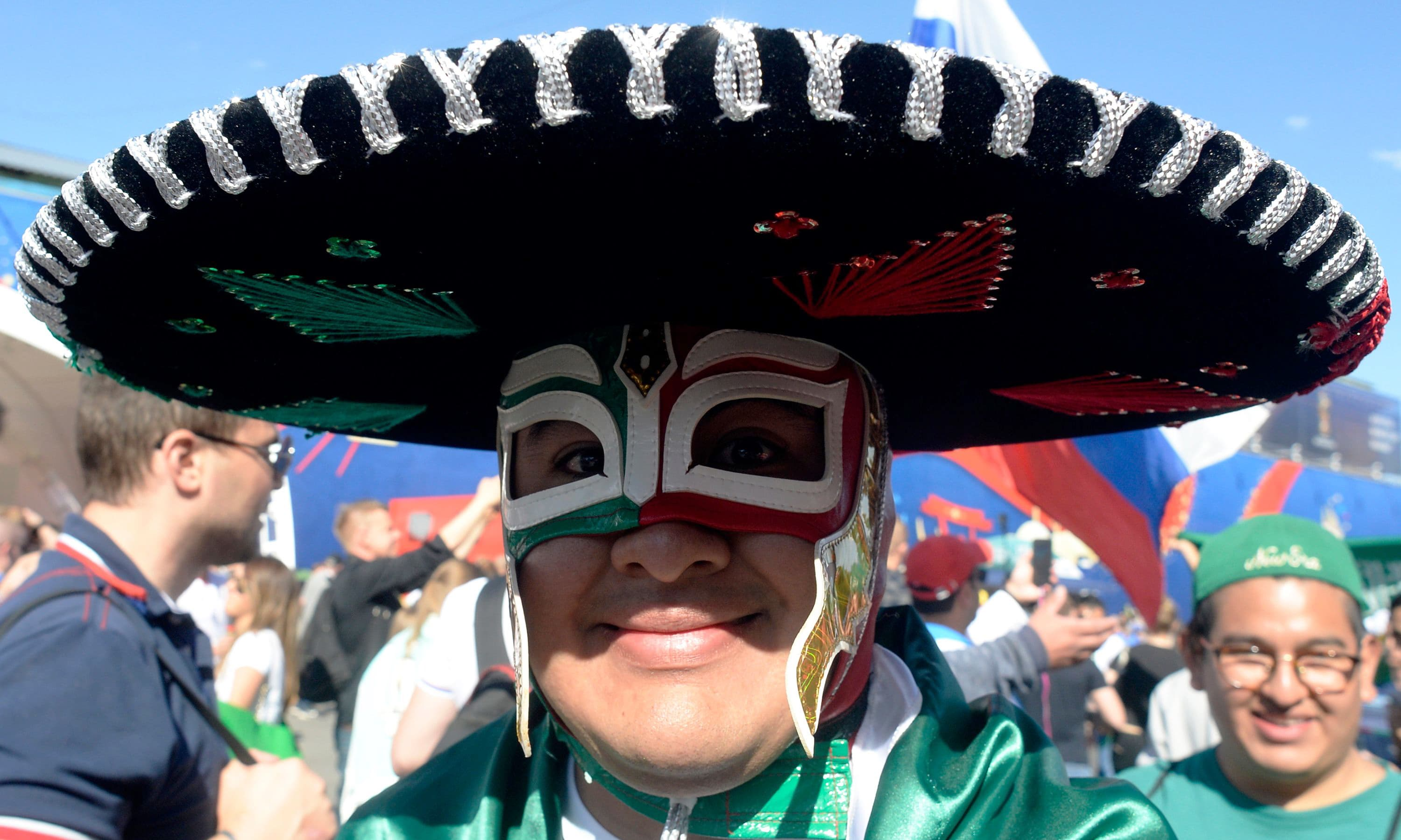 A football fan wearing a sombrero arrives to follow the game between Russia and Saudi Arabia on a giant screen at the Fifa Fans Fest Saint Petersburg. — AFP