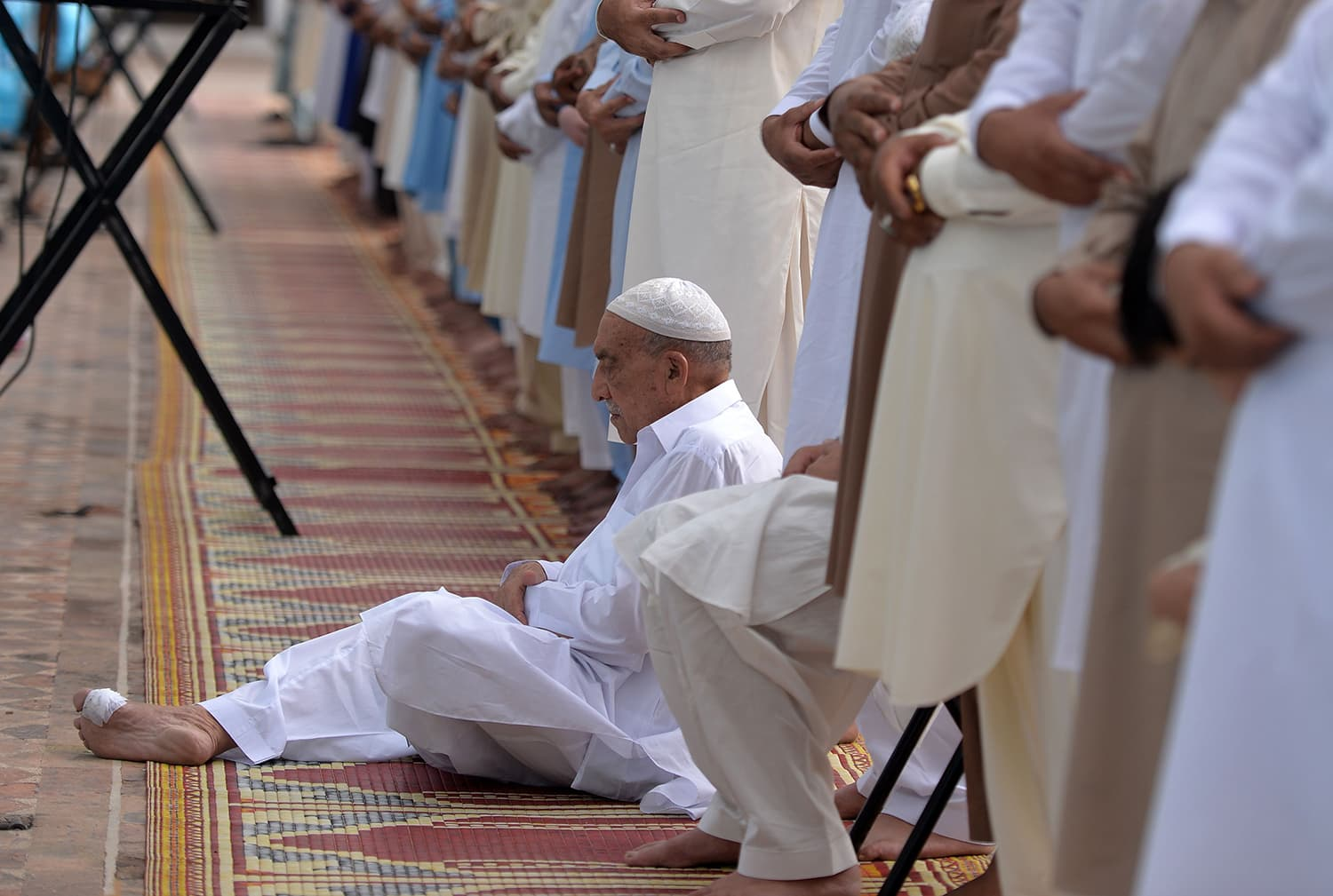 Muslims offer Eidul Fitr prayers at the at the Jamia Mosque in Rawalpindi. — AFP