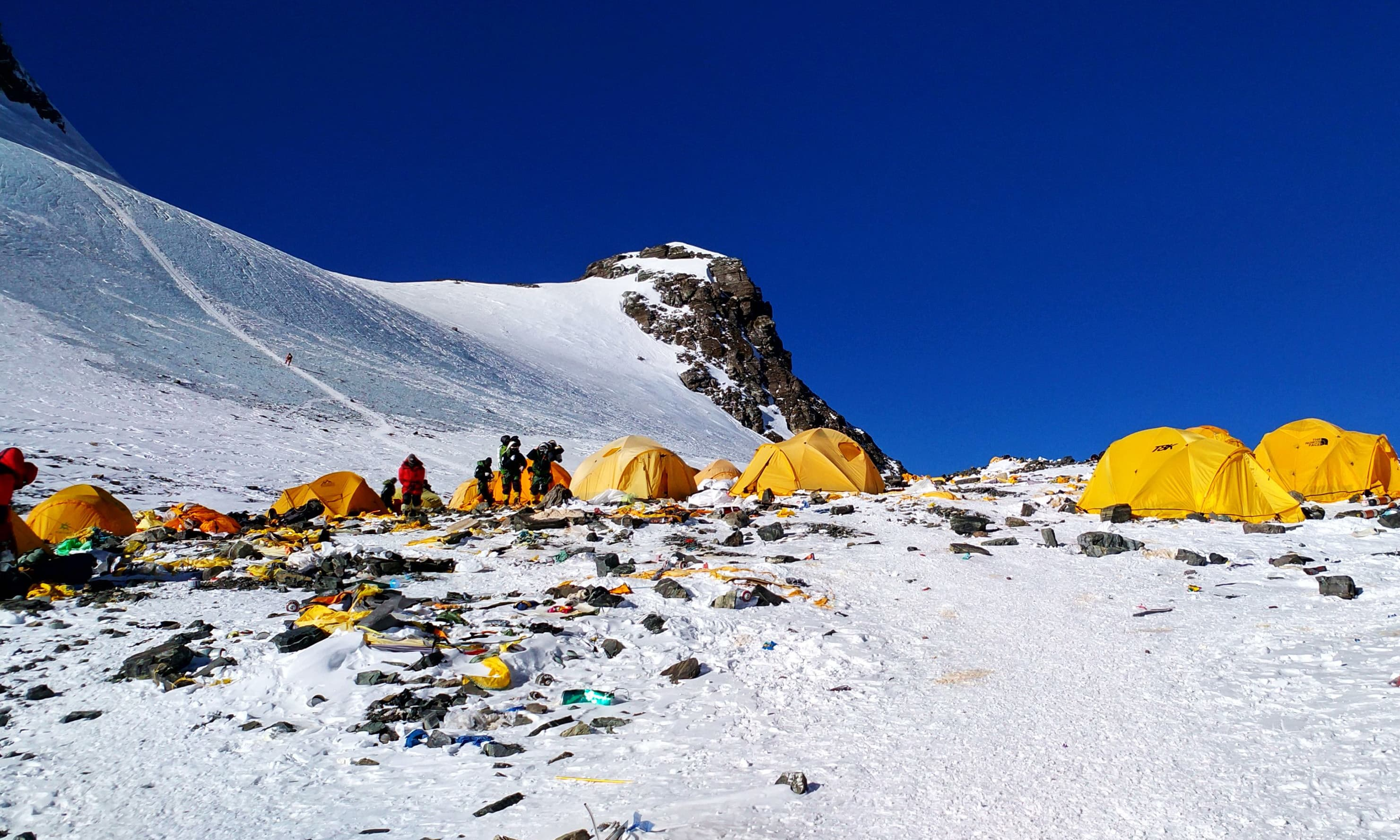 Discarded climbing equipment and rubbish scattered around Camp 4 of Mount Everest. —AFP