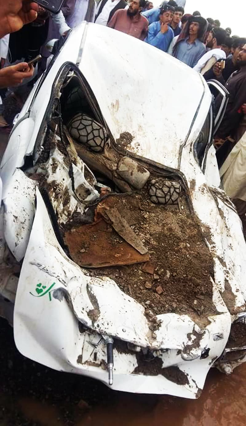 The damaged vehicle of Rehmatullah Safi.— Hafeezullah Sherani
