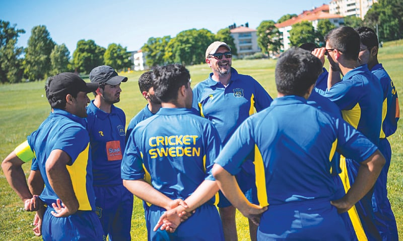 PLAYERS of the Swedish national cricket team warm up (top left) prior to a practice match against players of the Marylebone Cricket Club (MCC) from London on May 28 in the Stockholm district of Gardet. MCC players play a practice match (top right) against the Swedish national cricket team. Coach of the Swedish national cricket team, David Williman (bottom left, centre), speaks to his players. Players of the Swedish national cricket team pose for a picture (bottom right) before their practice match against MCC players.—AFP