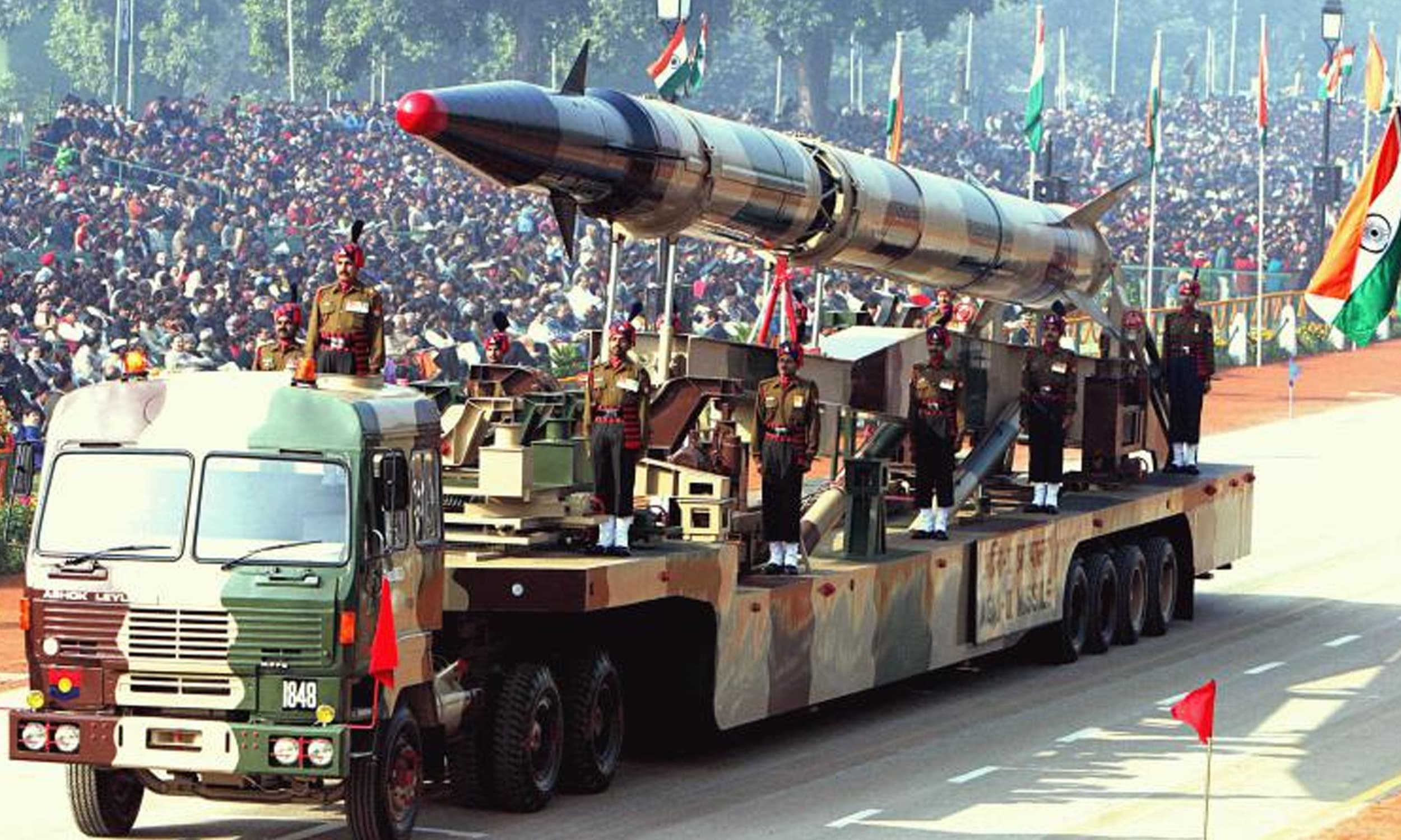 An Indian Agni-II intermediate range ballistic missile on a road-mobile launcher, displayed at the Republic Day Parade on New Delhi's Rajpath, January 26, 2004 | Via the Wire India