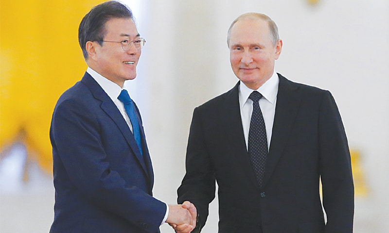 Putin, Moon agree that Trump-Kim summit to help denuclearisation