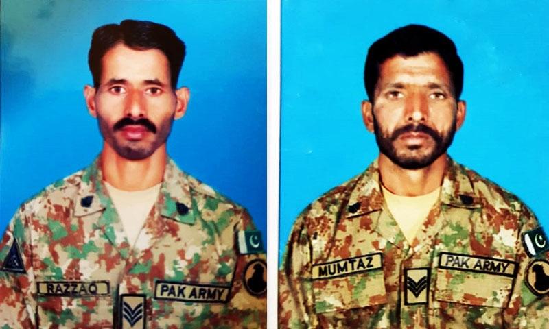 آپریشن کے دوران شہید ہونے والے حوالدار ممتاز حسین اور حوالدار زراق خان — فوٹو، آئی ایس پی آر
