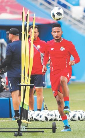 NIZHNY NOVGOROD: Panama's Erick Davis trains during a practice session at the Nizhny Novgorod Stadium on Saturday.—Reuters