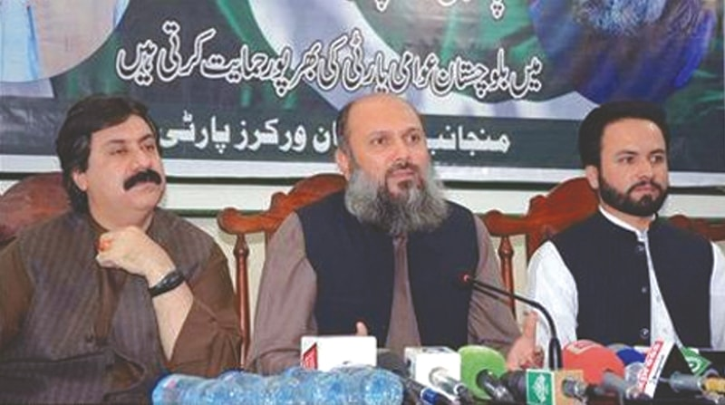 MIR Jam Kamal Khan Alyani (centre) resigned as a PML-N minister days before joining the Balochistan Awami Party he now leads.—INP