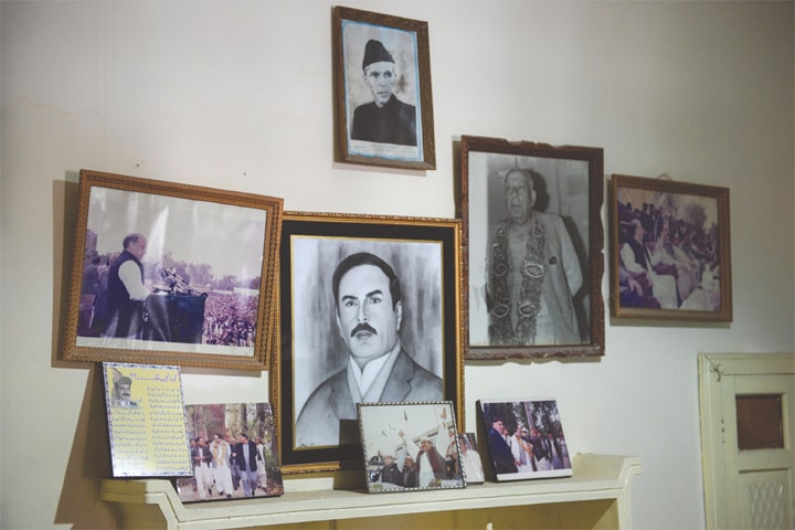 PHOTOGRAPHS on the mantelpiece at Imran Khan's ancestral home in Mianwali.
