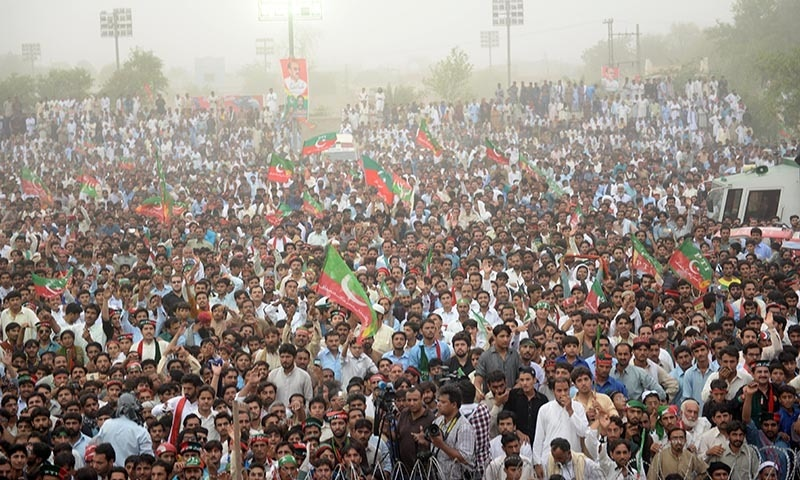 Supporters fill up the Tariq Hockey Stadium to attend PTI's Mianwali rally. — Photo courtesy Murtaza Syed