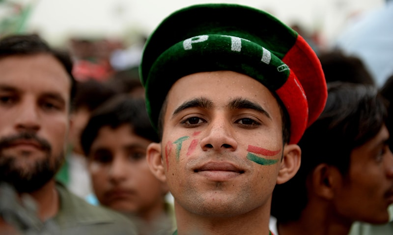 A PTI supporter attends PTI's rally in Mianwali. — Photo courtesy Murtaza Syed