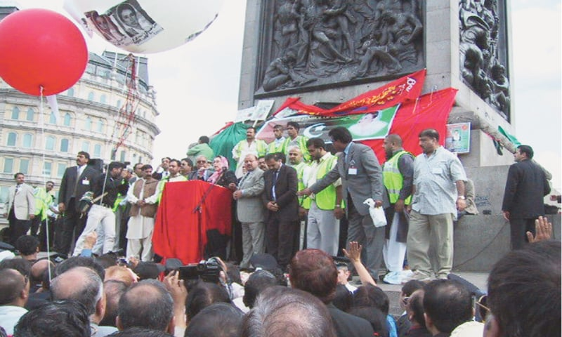 Back in 2002, former prime minister Benazir Bhutto kicked off her election campaign from London's Trafalgar Square.—File