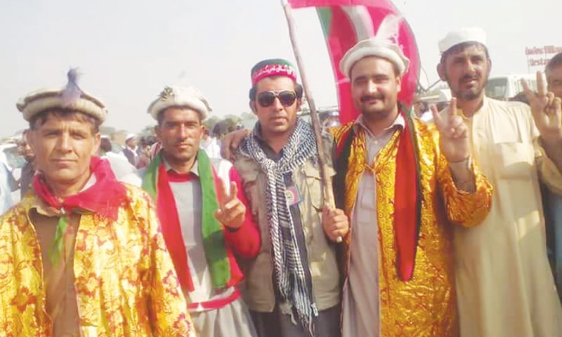 WAZIRZADA, PTI's candidate (second from right) from the Kalash Valley, has been nominated for a minority seat in the upcoming  elections.—Photo by writer