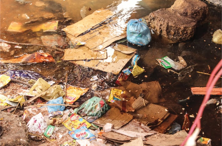 Garbage and filth surround the island