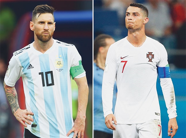 b2b4368c2 THIS combination of pictures on Saturday shows Lionel Messi (L) in Kazan and  Cristiano