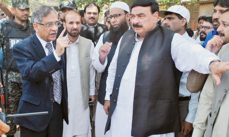 CHIEF Justice of Pakistan Saqib Nisar and Awami Muslim League leader Sheikh Rashid visiting the hospital site on Sunday.—Online