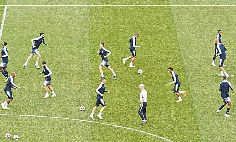 NIZHNY NOVGOROD: French players warm up during a training session on the eve of their quarter-final against Uruguay at the Nizhny Novgorod Stadium.—AP