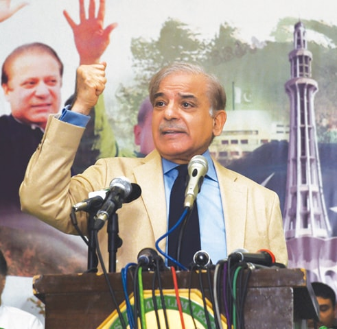Shahbaz Sharif, president of PML-N, says his was the only political party that implemented its programme in the last five years.—AFP