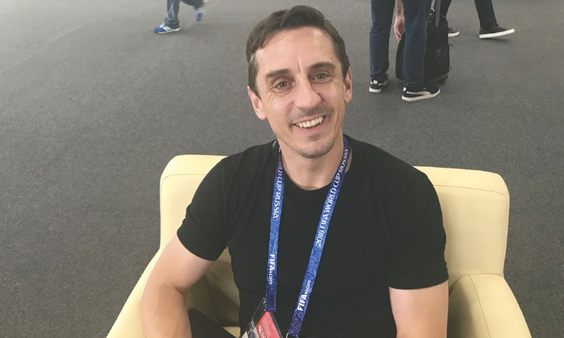 GARY Neville smiles during the interview at Nizhny Novgorod Media Centre.—Umaid Wasim