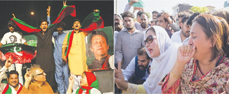(Left) Supporters of Pakistan Tehreek-i-Insaf chief Imran Khan dance and celebrate the accountability court's verdict on Friday in Karachi. (Right) Pakistan Muslim League-Nawaz supporters protest outside the court in Islamabad.—White Star