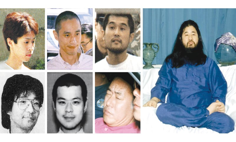 This combo of file photos shows (from top left-counter-clockwise) Yoshihiro Inoue, the intelligence chief of Japan's doomsday Aum Shinrikyo (Supreme Truth) sect; Aum senior member Tomomitsu Niimi; the sect's top chemist Masami Tsuchiya; Aum leader Shoko Asahara; Aum senior member Kiyohide Hayakawa (pink shirt); Aum officer Tomomasa Nakagawa; and Aum officer Seiichi Endo at various locations in Japan in the early 1990s. Shoko Asahara, the leader of the Aum Shinrikyo cult that carried out a deadly sarin attack on Tokyo's subway in 1995, was executed on Friday, two decades after the group's shock