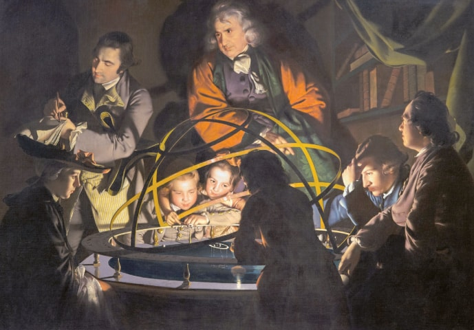 A 1766 painting by British artist Joseph Wright depicting an orrery, or mechanical model of the solar system, caused a great stir because the object of wonder at the centre of the scene was of a scientific rather than religious nature | Public domain