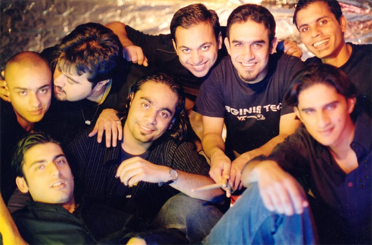 The original line-up of Entity Paradigm (2003): (L to R, top) Asad Ali Khan, Ahmed Ali Butt, Sajjad Khan, Waqar Khan and Salman Albert. (L to R, bottom) Fawad Khan, Zulfiqar Jabbar Khan and Hassaan Khalid -Photo: Usman Saeed