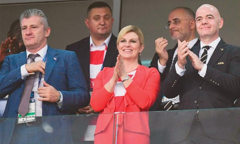 SOCHI: President of Croatian Football Federation Davor Suker (L),  Croatia's President Kolinda Grabar-Kitarovic and FIFA president Gianni Infantino in attendance during the last quarter-final at the Fisht Stadium.—AFP