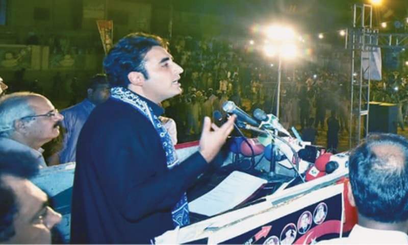 (Top left) Pakistan Tehreek-i-Insaf chief Imran Khan addresses a rally at College Ground in Abbottabad on Sunday. (Top right) Former Punjab chief minister Shahbaz Sharif speaks at a gathering in Haroonabad. (Bottom) Pakistan Peoples Party chairman Bilawal Bhutto-Zardari at a public gathering in Muzaffargarh.—Agencies