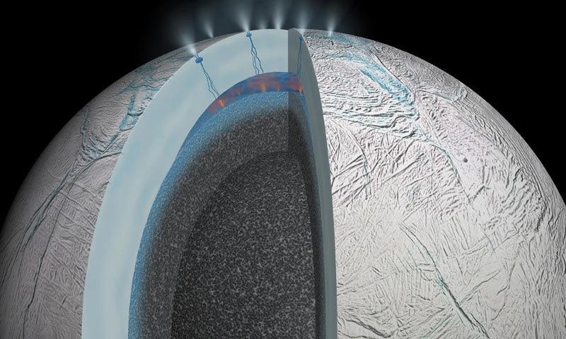 سیارہ زحل کا چاند انسلیدس کائنات کا منفرد چاند ہے—فوٹو: بزنس انسائڈڑ