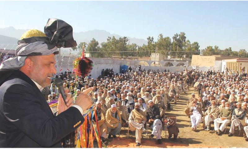 IN this file photo from 2016, Haji Shahji Gul addresses a public gathering at a government-run school in Landi Kotal. Mr Gul's position is overly reliant on his personal struggle of 'liberating' the tribal areas, and getting rid of the Frontier Crimes Regulation.