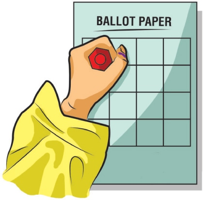 When you have the ballot paper in your hands, you proceed to the polling booth and put the prescribed mark next to the symbol of the candidate you support to cast vote. - Illustration by Rahada Tajwer