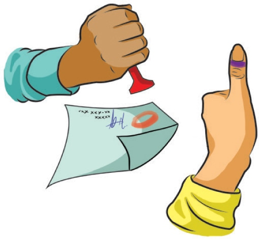 Your finger or thumb of either hand will be marked with indelible ink to obtain an impression on the ballot paper which will be stamped and signed by the Presiding Officer. - Illustration by Rahada Tajwer