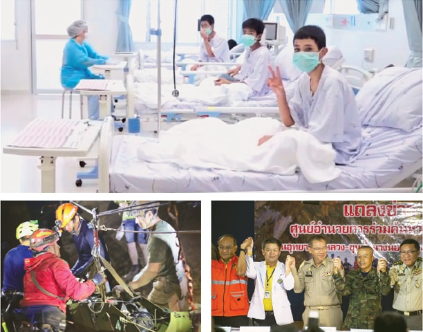 """CHIANG RAI: This handout video grab taken from footage released by the Thai government public relations department and government spokesman bureau on Wednesday shows members of the """"Wild Boars"""" football team being treated at a hospital (top). A member of the Thai youth football team being moved on a stretcher (bottom left) during the rescue operation inside the Tham Luang cave. Chiang Rai Governor Narongsak Osotthanakorn (bottom right, centre) and the mission team celebrate after pulling off a complex rescue operation on Wednesday.—AFP"""