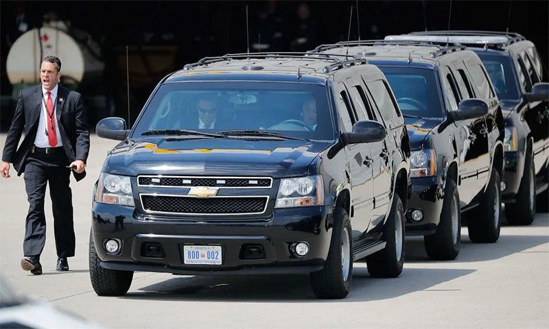 امریکی وفد کی گاڑیوں کا قافلہ— اے ایف پی فوٹو