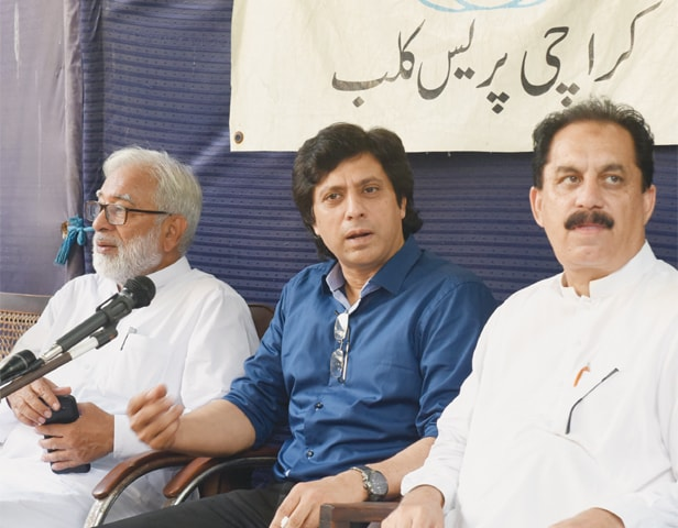 SINGER and candidate Jawad Ahmad speaks at the KPC on Thursday.—Tahir Jamal/White Star