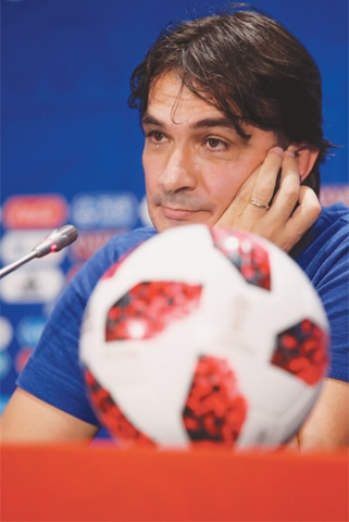 MOSCOW: Croatia coach Zlatko Dalic attends a press conference at the Luzhniki Stadium on Thursday.—Reuters