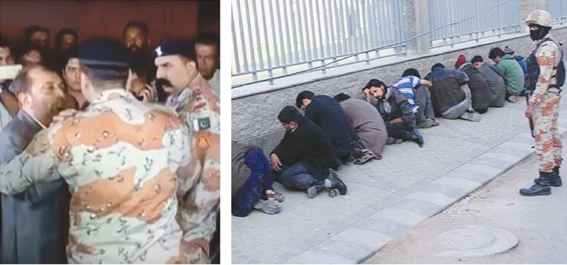 IN these file photos, (left) MQM's Farooq Sattar being taken into custody by the Rangers after Altaf Hussain's incendiary speech in August 2016. (Right) MQM's workers arrested by the paramilitary force following a raid at the party's headquarters in 2015.—Agencies